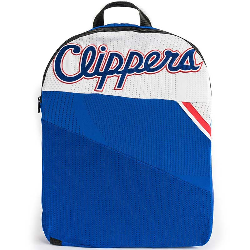 Los Angeles Clippers packable backpack made from upcycled NBA uniform jerseys