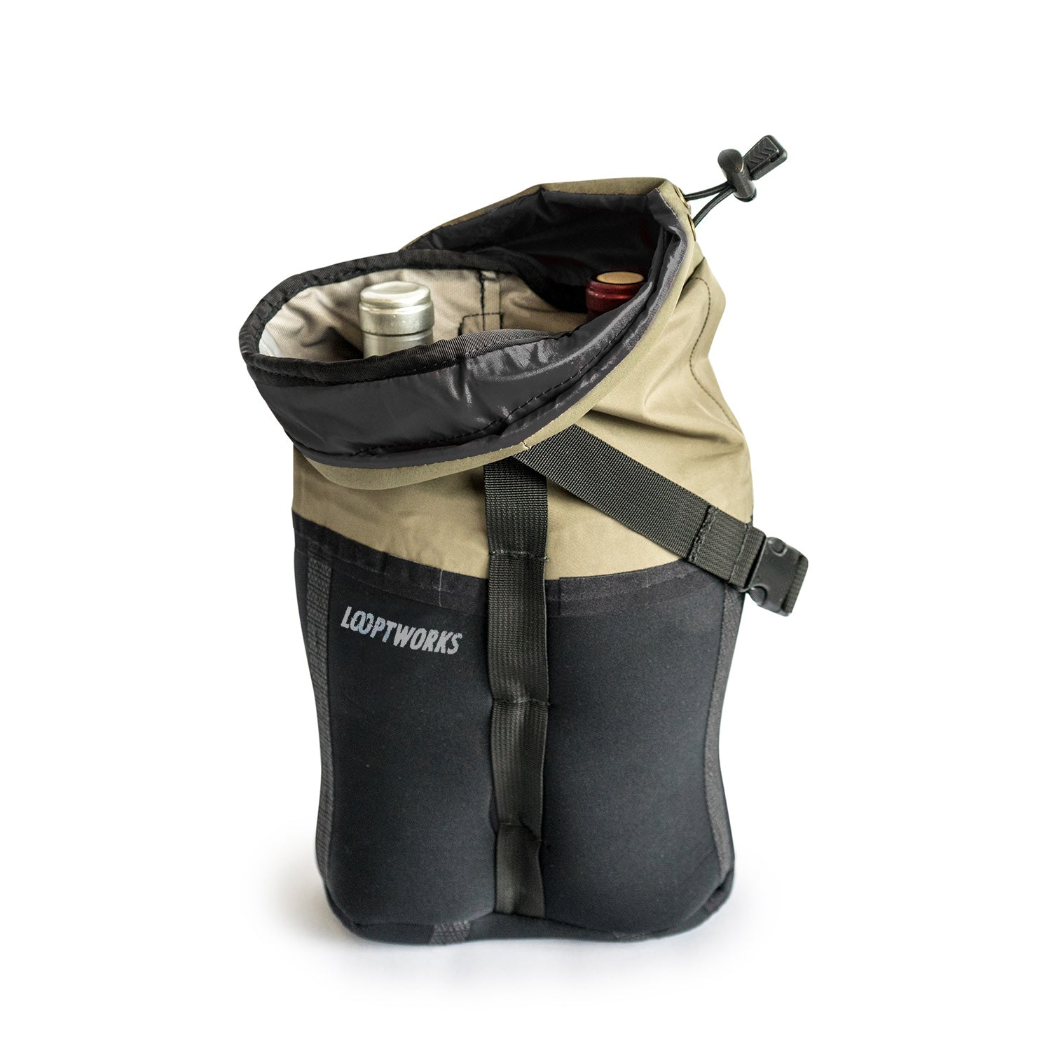 Upcycled double wine bottle carrier with drawstring enclosure protects and insulates