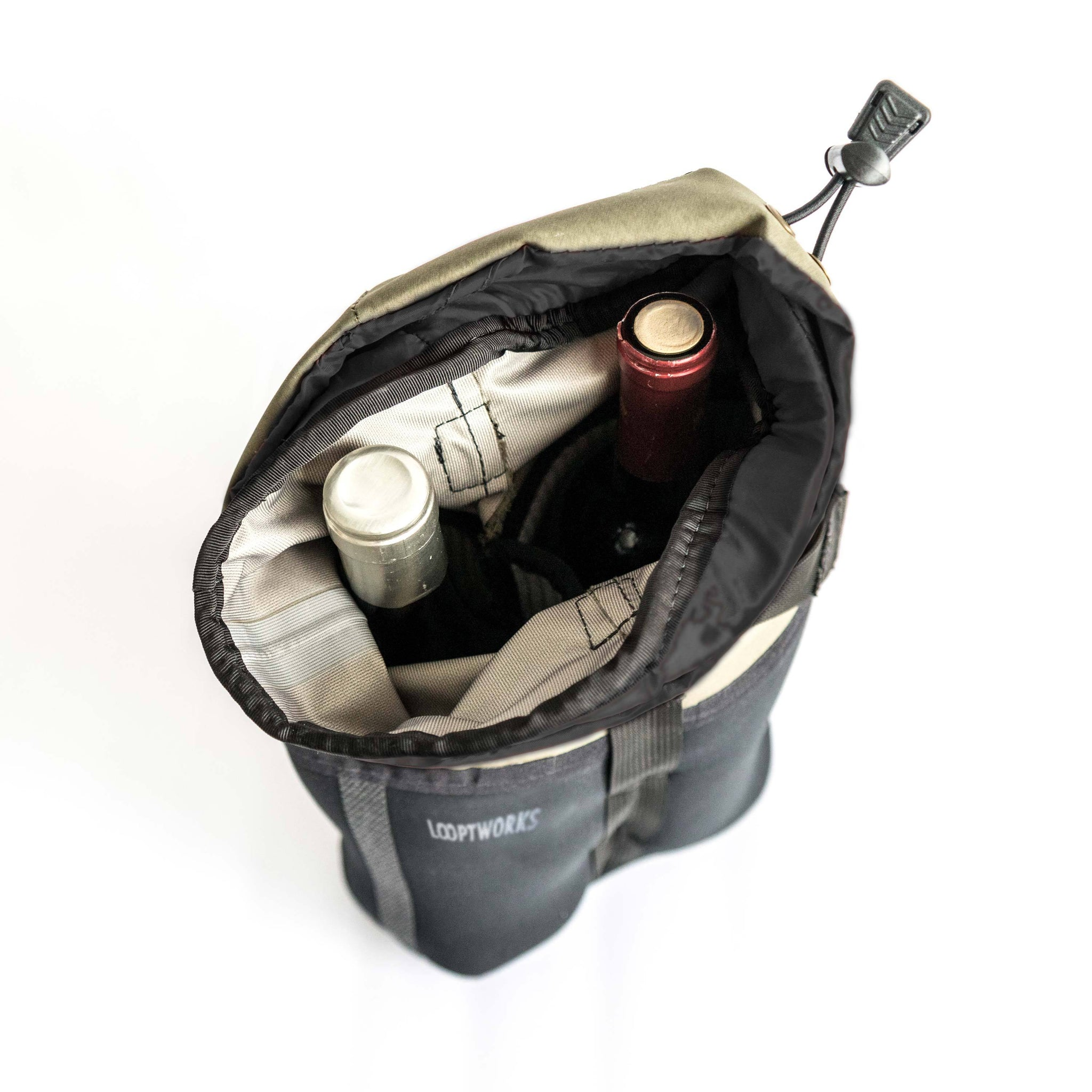 A look inside our dual wine carrier - twice the adventure. Upcycled from Patagonia fishing waders
