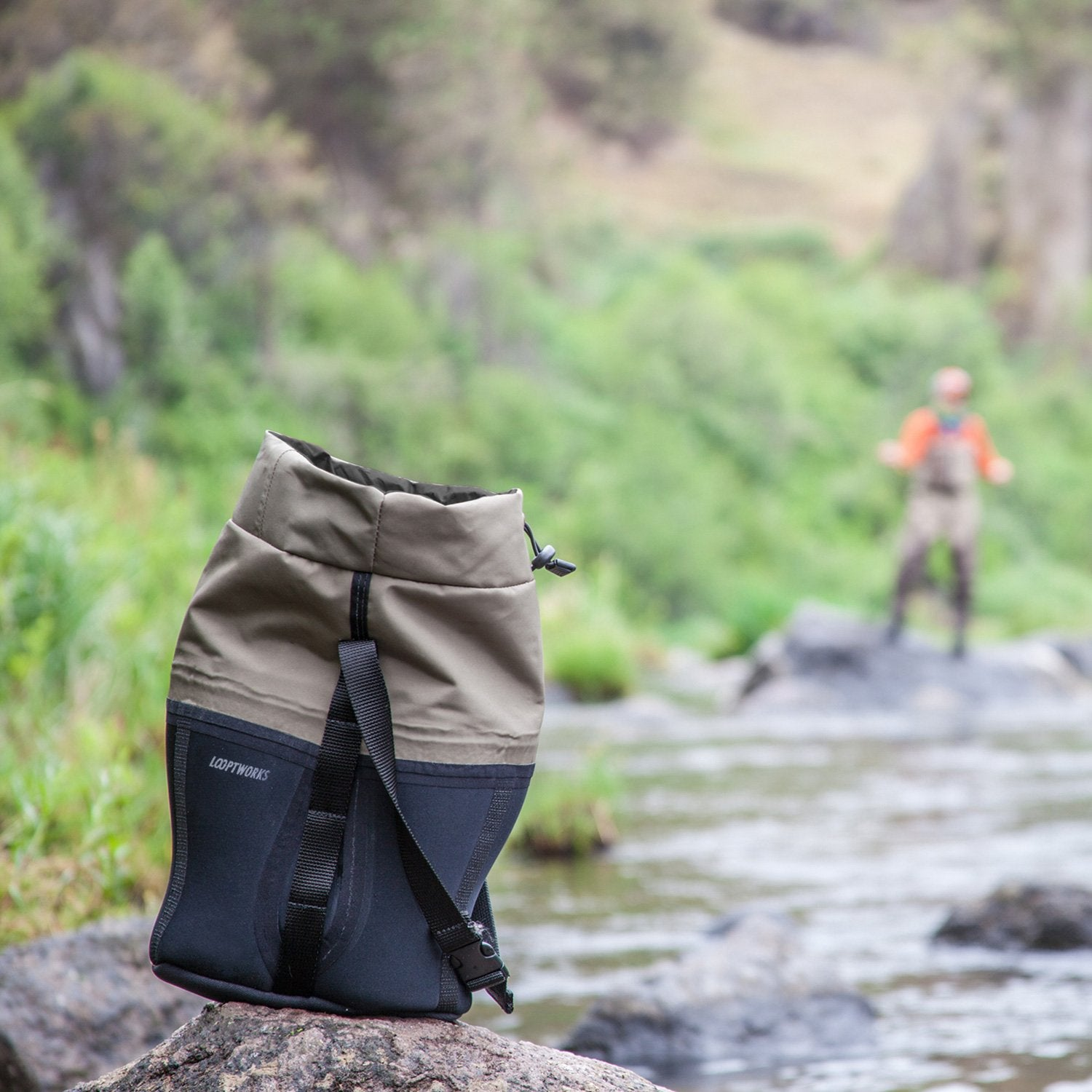 Our upcycled neoprene and merino wool dual wine carrier is ready for any adventure
