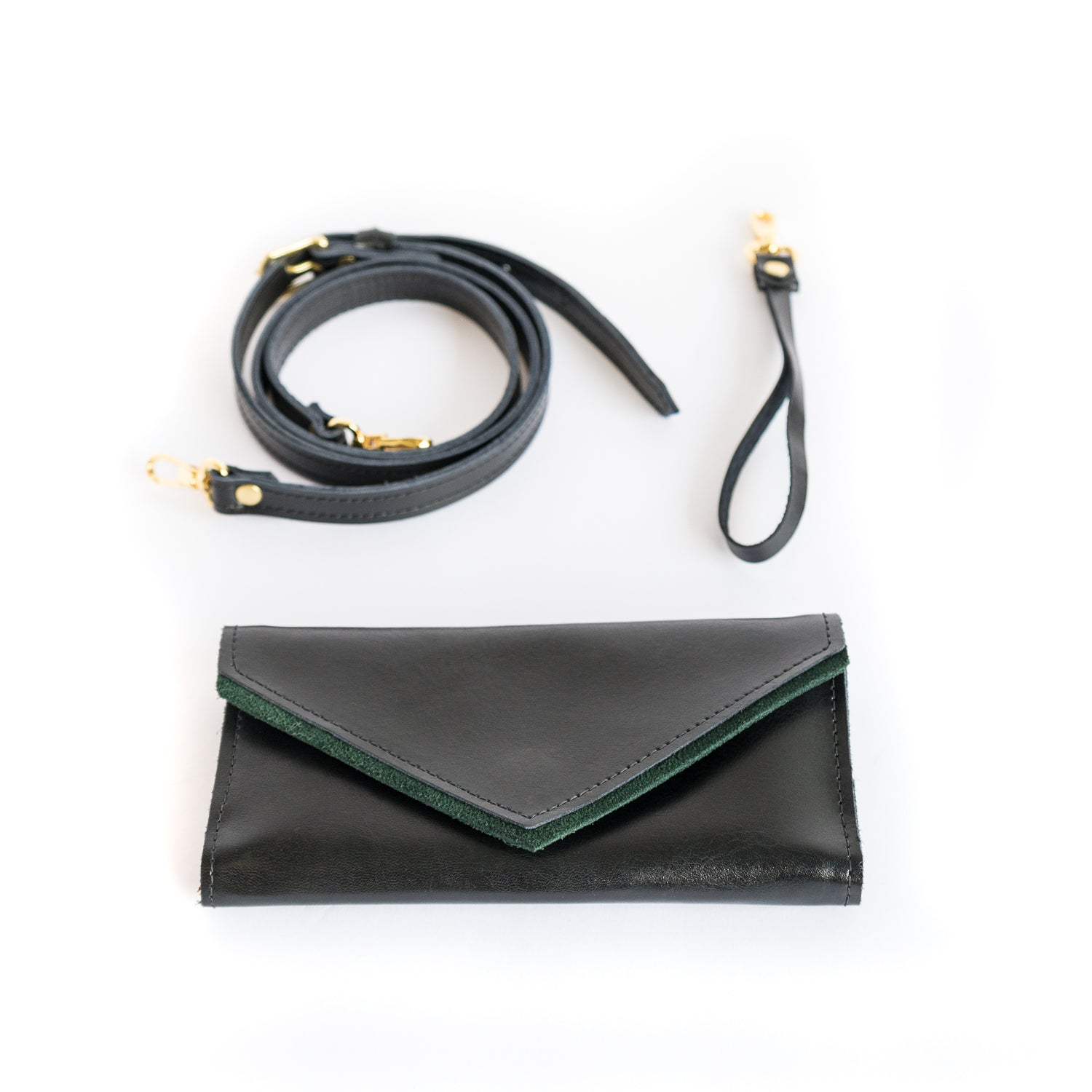 La Vallée Black Emerald Leather wallet Clutches - Looptworks