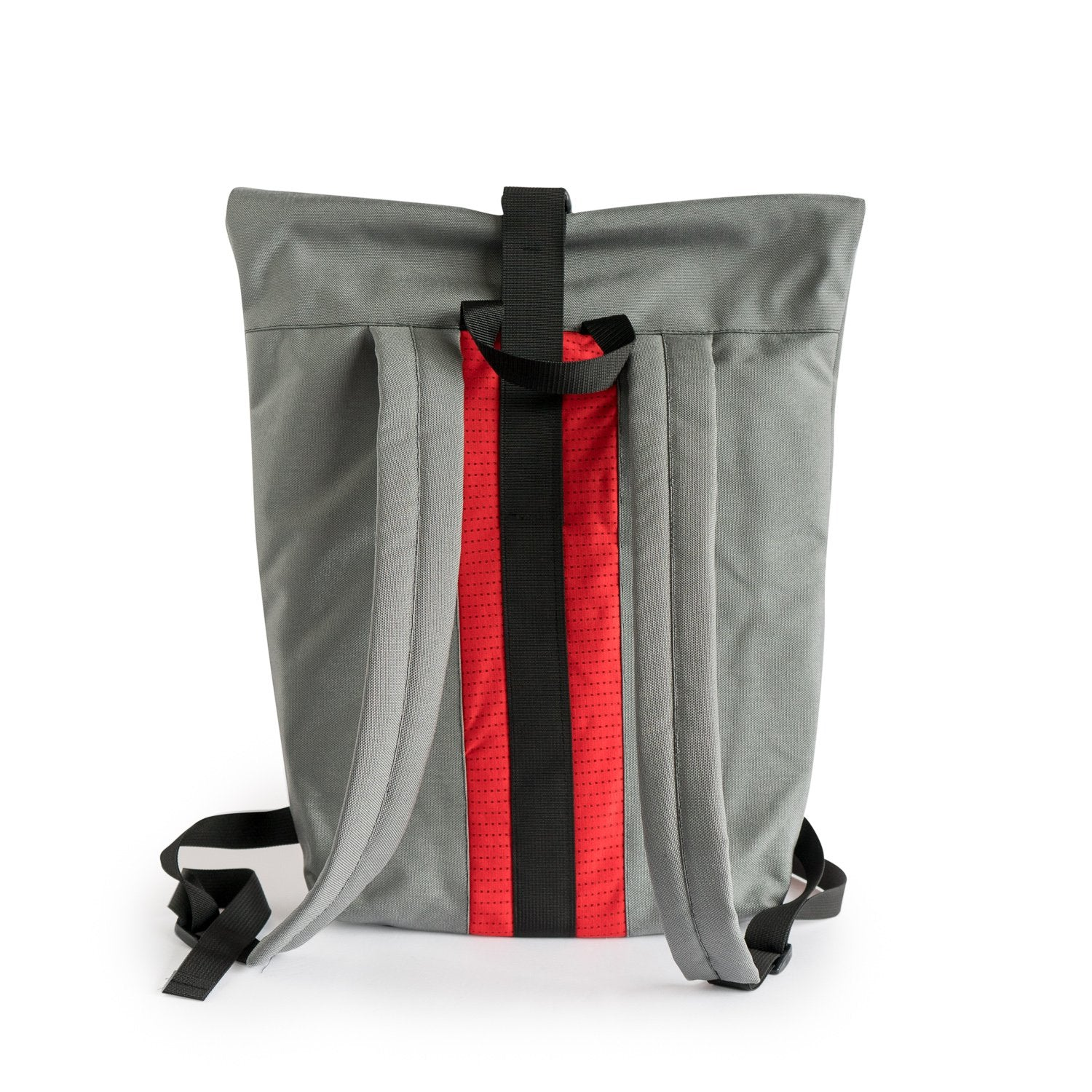 Back view of our Portland Blazers rolltop backpack made from upcycled NBA jerseys and canvas