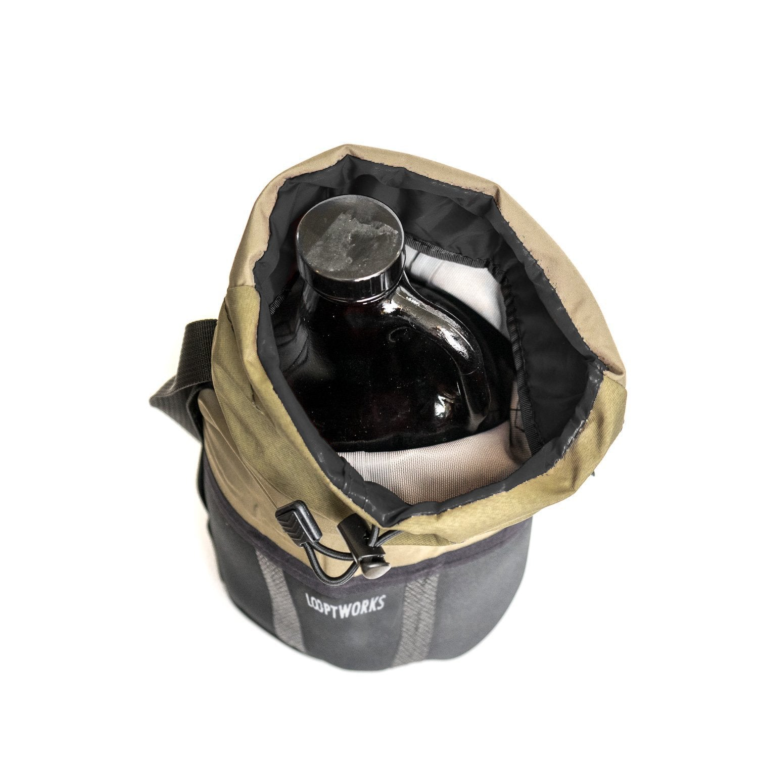 Top down view of our insulated growler carrier, made from upcycled Patagonia fishing wader booties.
