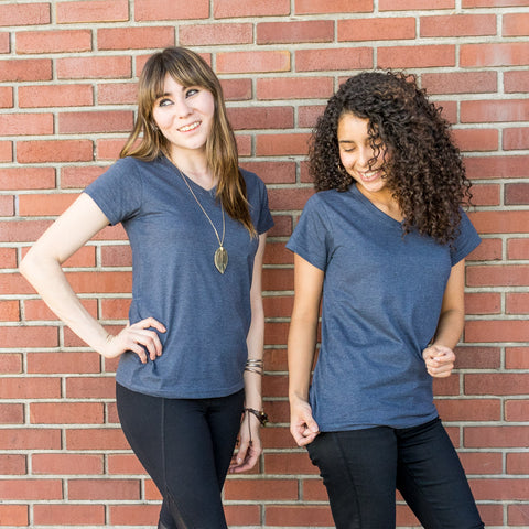 Heather Blue Women's Upcycled V-neck Tee 2 Pack