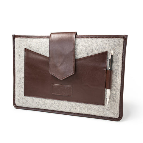 Felt & Leather Laptop Sleeve- Brown