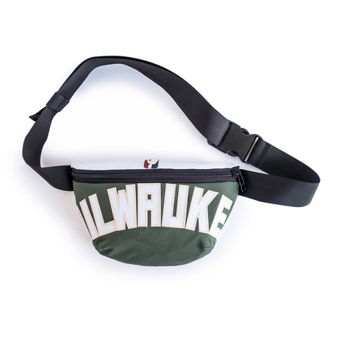 Milwaukee Bucks waist bag made from upcycled NBA jerseys