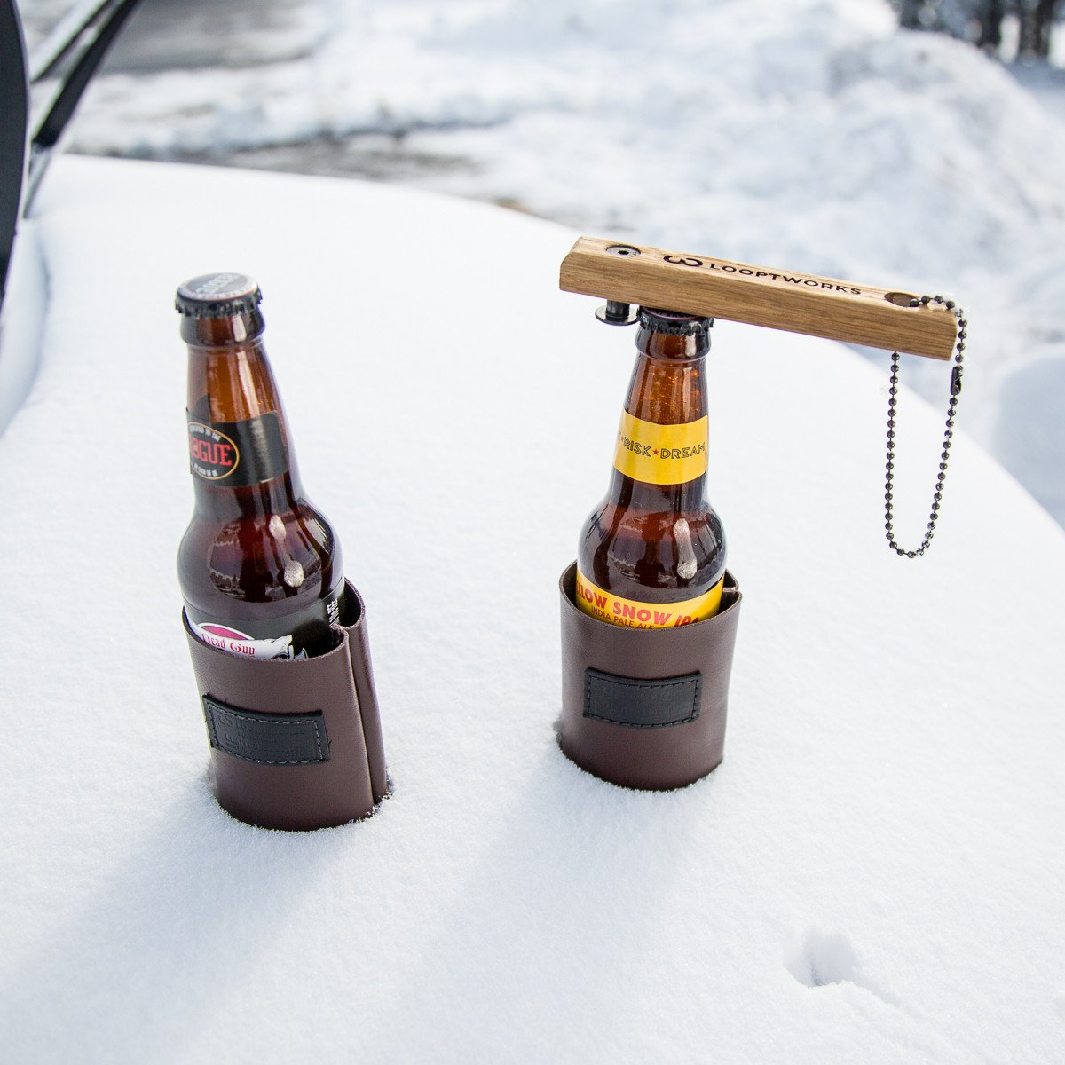 upcycled oak bottle opener and snow cooled beers