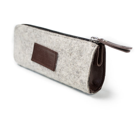 Felt & Leather Pencil Case - Brown