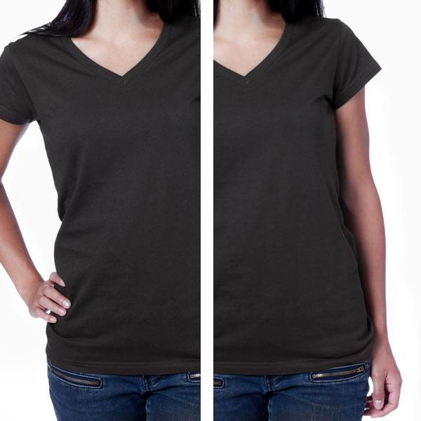 Women's Upcycled V-Neck Tee 2 Pack (Black & Black) Apparel - Looptworks
