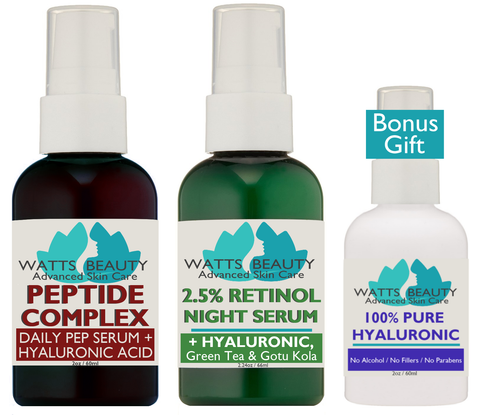 The perfect complete day and night skin care set with free hyaluronic acid serum
