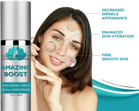 Watts Beauty Amazing BOOST Hydrating Pure Hyaluronic Acid Serum for Face - Daily Moisturizer