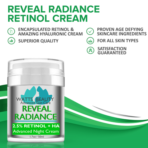 Watts Beauty Reveal Radiance Retinol Cream for Wrinkles, Fine Lines, Large Pores , Uneven Skin Tone and More