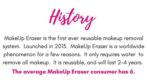 #1 reusable makeup removal system in the world. Erase all your makeup with The Original MakeUp Eraser and water! Erases all makeup including waterproof mascara, eyeliner, foundation, blush and more. The MakeUp Eraser is also reusable, machine washable and will last you 3-5 years. Trusted by beauty bloggers and vloggers...