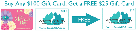 Shopping for someone else but not sure what to give them? Give them the gift of great skin with a Watts Beauty gift card. BONUS: FREE GIFT CARD with PURCHASE Simply ADD both gift cards to cart then click the CHECKOUT button for automatic offer to apply. Want more than one? Adjust quantities in cart. Gift cards are delivered by email and contain instructions to redeem them at checkout. Our gift cards have no processing fees, no monthly fees & they never expire.
