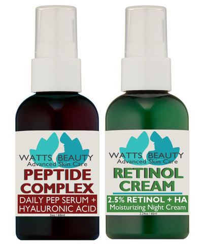 The Perfect Anti Aging Day & Night Cream Combo - Firming Peptide Serum plus Smoothing Retinol Cream for Younger Looking Skin