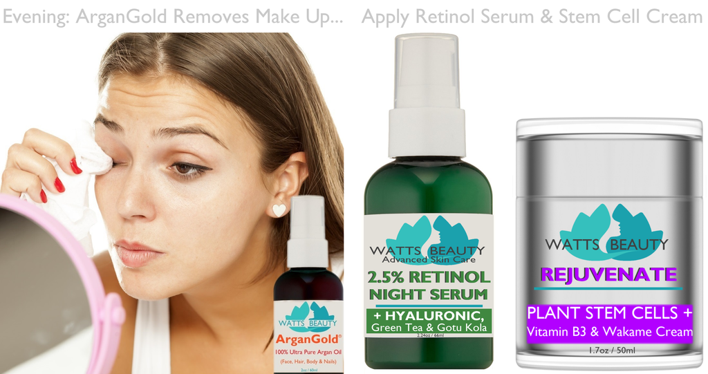 My Evening Routine of Watts Beauty Advanced Skin Care - Susan King MD - Remove makeup with ArganGold argan oil then apply retinol serum and stem cell cream