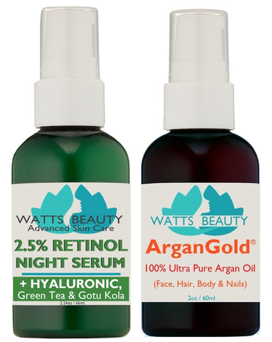 Retinol Serum and Ultra Argan Oil Combo Skin Care Set - Clear Complexion and Decrease Oiliness