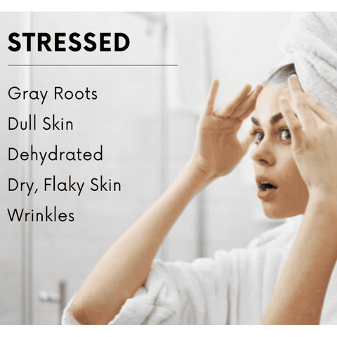 Don't let stress show on the surface - Keep your skin hydrated for healthy skin and most youthful appearance. Stress is a common factor in many skin concerns. Stress increases cortisol levels, body temperature, blood pressure and to add to this mounting stress ball, during times of stress - we drink less water. Our bodies are trying to process the excess levels of cortisol by pushing them out of our kidneys, level off our blood pressure and temperature which results in heat and moisture loss. Skin that is both oily and dry in areas need hydrating moisture to both help retain water volume while satisfying the skins thirst which will turn off the over production of oil glands making excess amounts of oil in response to the lack of hydration triggers. Hydrate then apply a light moisturizer to combat this daily. Use pure, minimal ingredient products for best results.