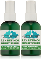 Clear, Smooth Skin -  2.5% Retinol Serum with Hyaluronic Acid, Green Tea & Gotu Kola - Lightweight 2.5% Retinol Serum