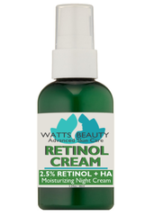 Smooth Your Complexion with Hyaluronic Infused Retinol Cream.  Created by Cosmetic Dermatologists & Blended with Hyaluronic Acid, Watts Beauty 2.5% Retinol Cream & Serum Formulas Offer Maximum, Lasting Results.  What is RETINOL? Retinol helps control oil while improving the appearance of wrinkles and complexion problems.