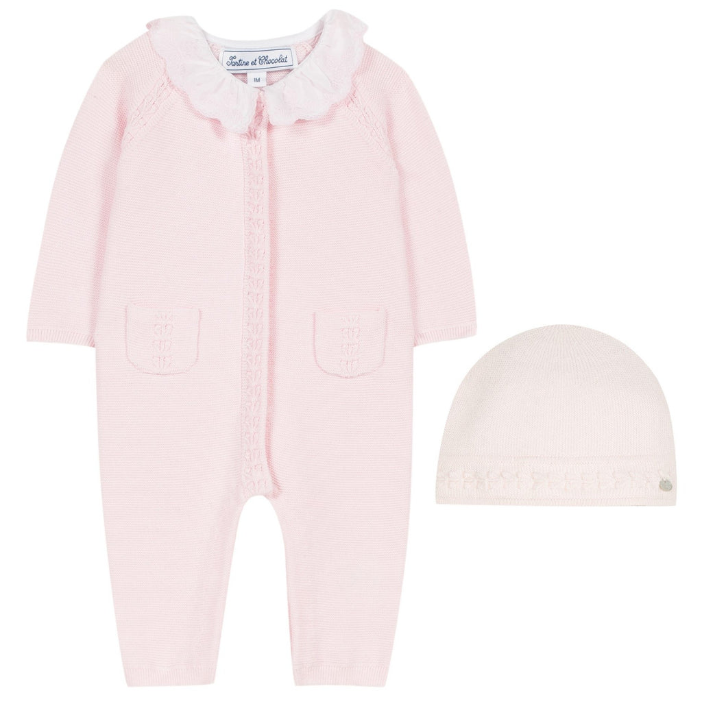 Tartine Newborn Ruffle Knit Romper & Hat Set