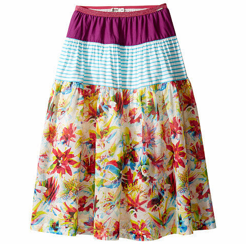 JPG60Q-5J27054-VIRINA-B 3 Tiered Floral Skirt with Purple