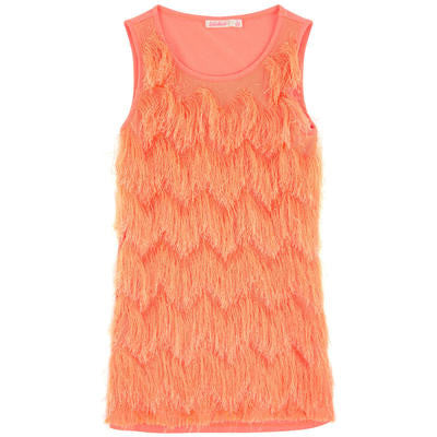 BL60Q-12-U12284 Sleeveless Fringes Dress