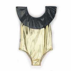 Andorine Ruffle Neck Metallic Swimsuit