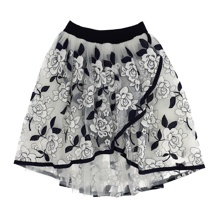 Monnalisa Eva Embroidered Flower Skirt