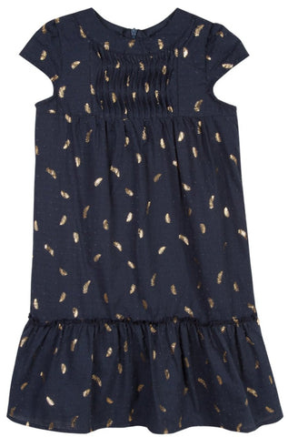 Lili Gaufrette Gopal Gold Leaves Print Dress