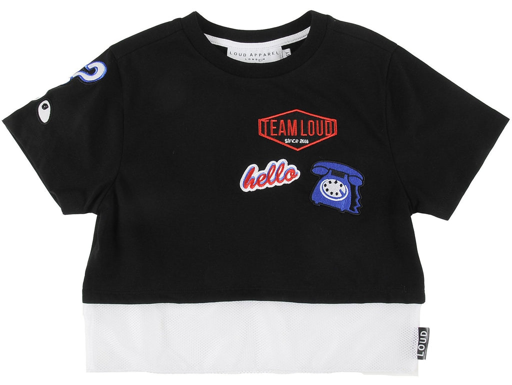 Loud Apparel Charme Cropped Motif Applique Tee