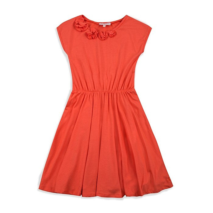 LG60Q-04-LIA-B Jersey Orange dress with Flowers appliqué