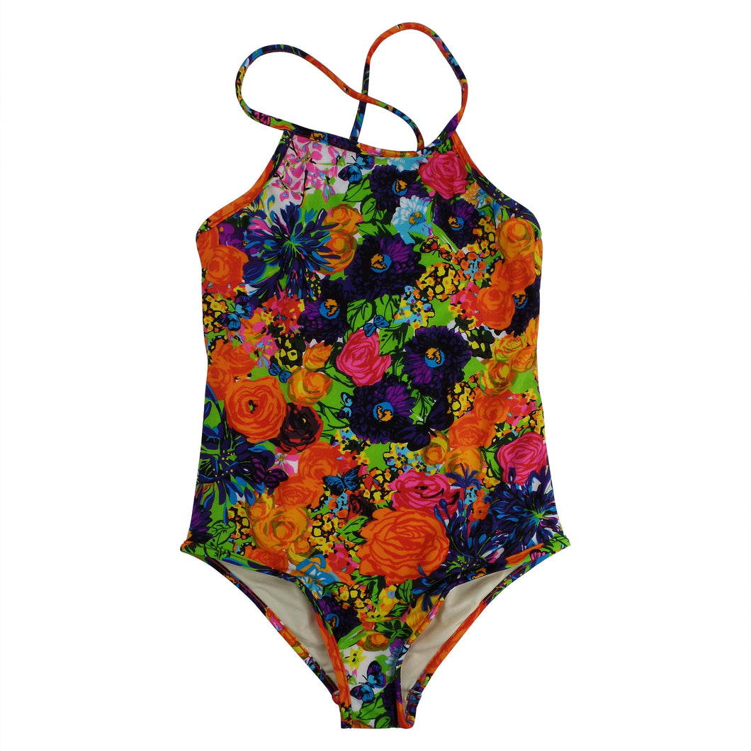 MN60Q-42-140FS09247-A Floral Cross Back 1PC Swimsuit