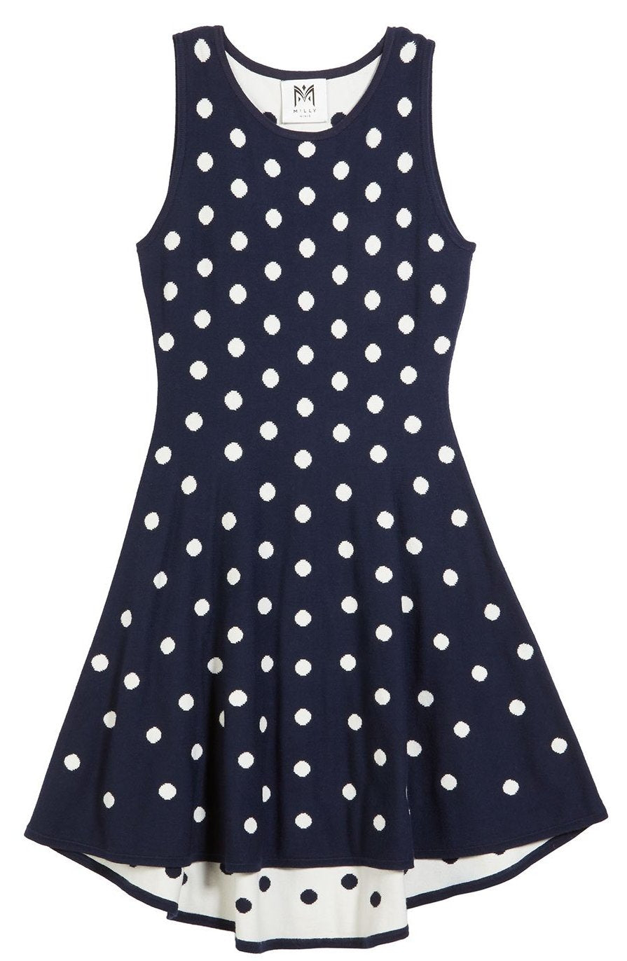Milly Minis Polka Dot Jacquard Dress