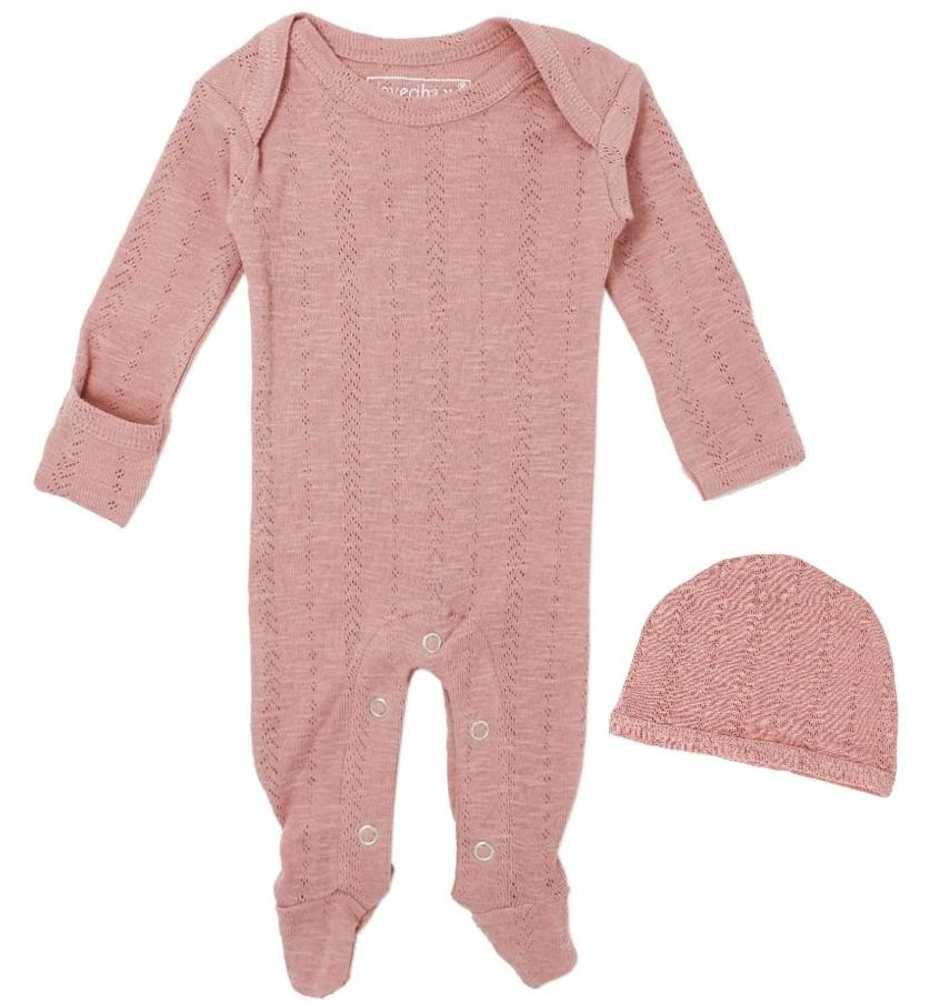 L'ovedbaby Baby Girl Pointelle Footie & Hat Set