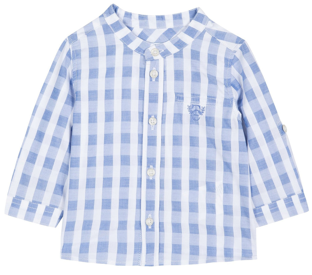 Tartine Chemise11 Collarless Check Shirt