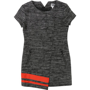 Lagerfeld Kids Z12095 Lurex Tweed Dress with Red Hem