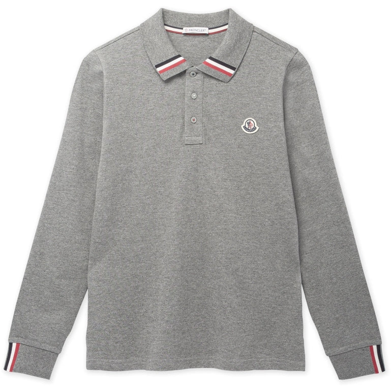 Moncler 84632 L/S Flag Tipping Polo Shirt