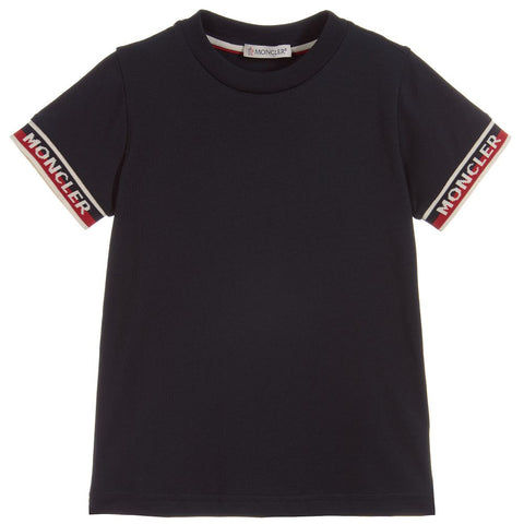 Moncler Maglia Tee Shirt with Ribbed Sleeve Trim