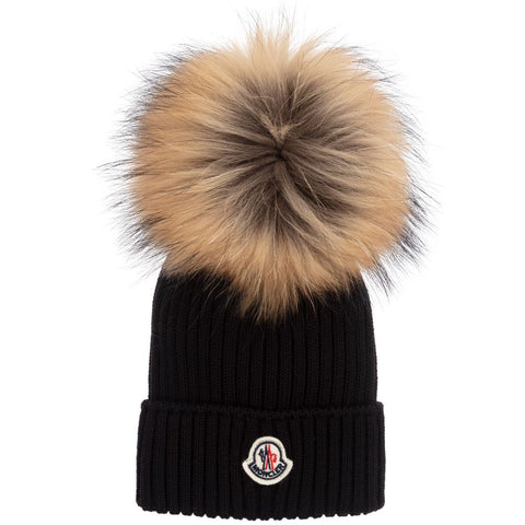 Moncler 04S01 Natural Ribbed Pom Pom Hat