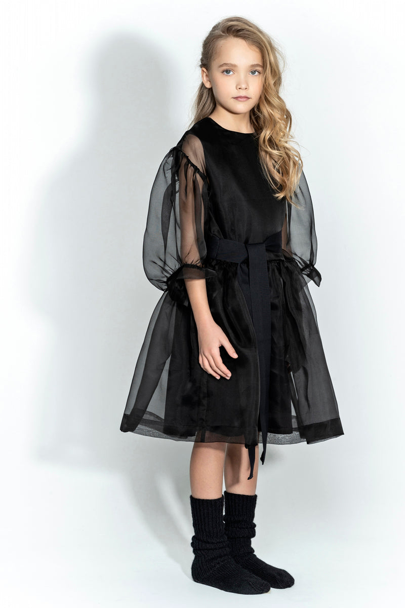 Unlabel Hana Sheer Sleeve Belted Dress