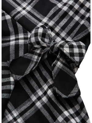Il Gufo VL348 Plaid Flannel Dress with Bow