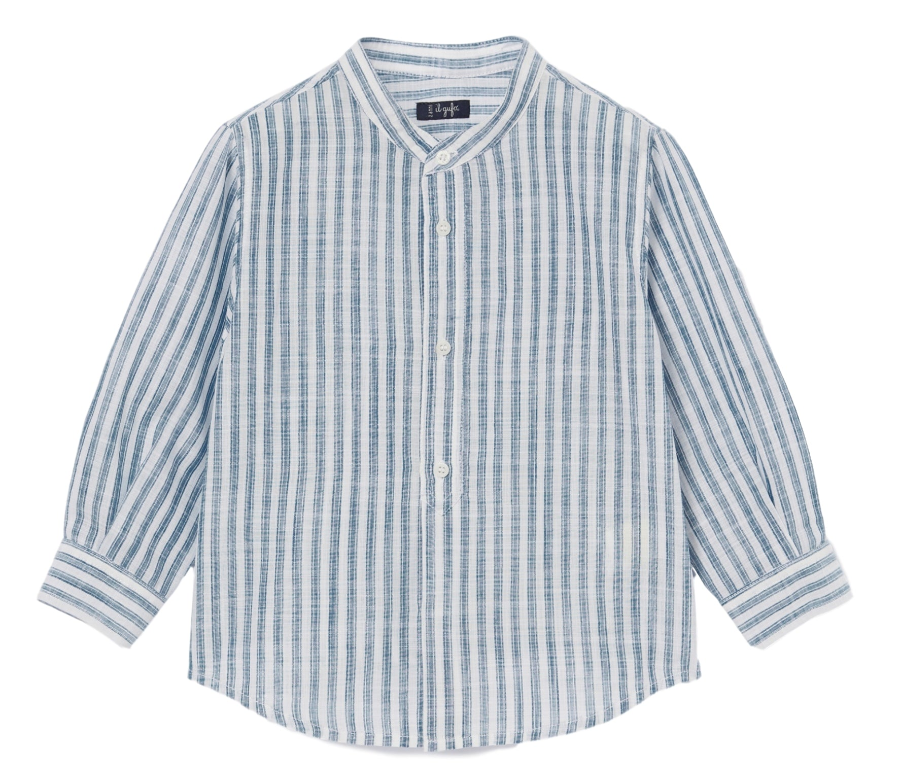 Il Gufo Mandarin Linen Striped Shirt