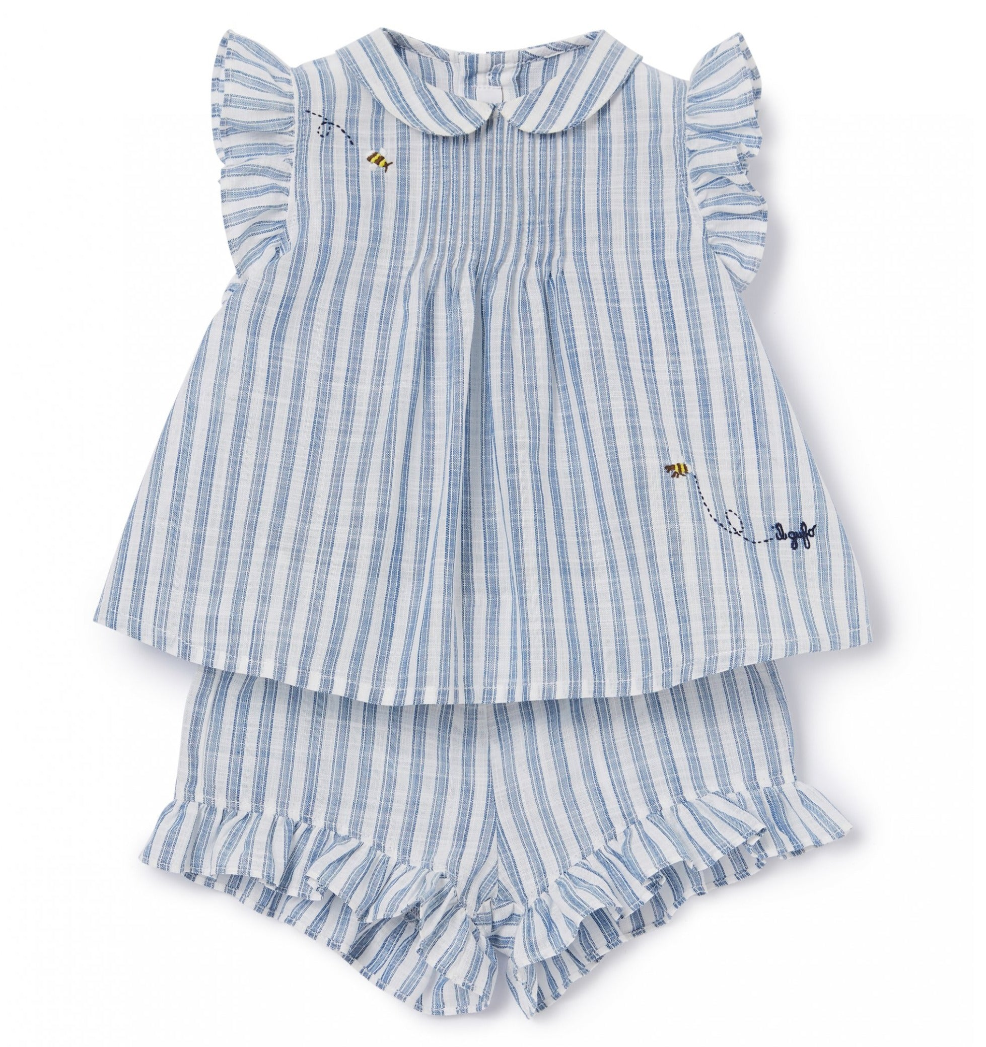 Il Gufo Baby Girl Striped Linen Short Set