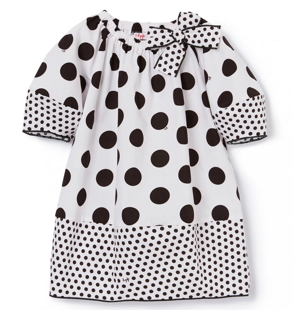 Il Gufo Polka Dot Bubble Sleeve Dress