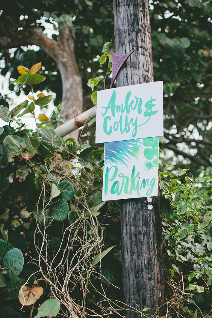 Hawaii Wedding Signage Hand lettered Watercolor