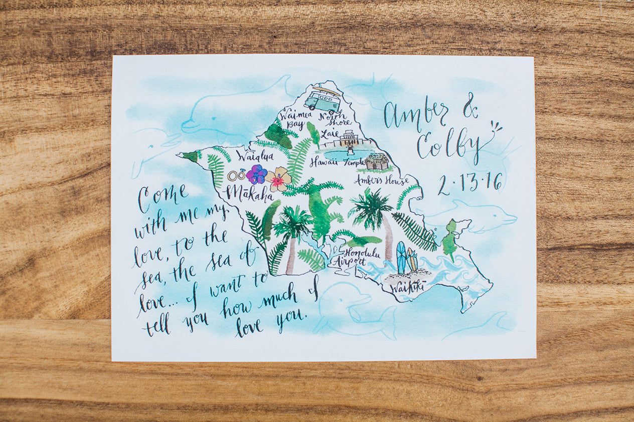 O'ahu Hawaii Map Wedding Invitations Island Ocean Dolphins