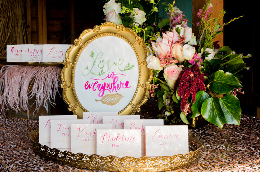 Escort Card Calligraphy Vines Watercolor Pink Feathers Sequins Rose Gold Ampersand SF Flowers