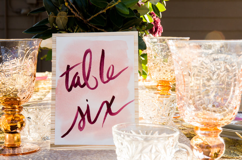Table Number Watercolor Calligraphy Pink Gold Hand Made