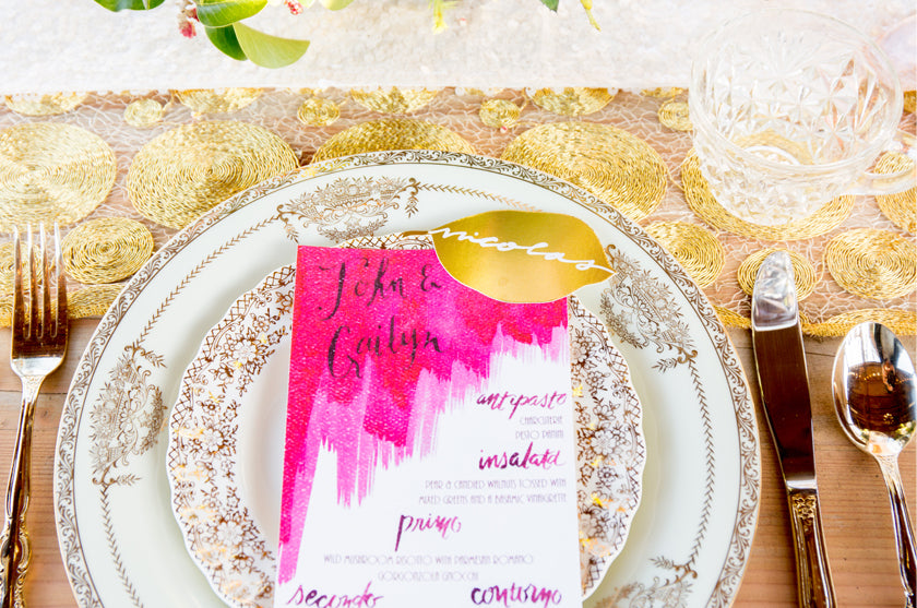 Watercolor Gold Foil Wedding Menu Place Cards Magenta Calligraphy